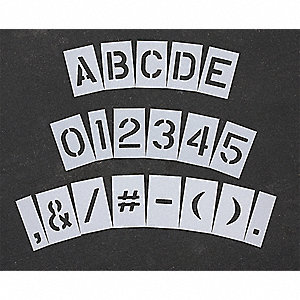 "Pavement Stencil, Letters, Numbers, and Punctuation, 4"", Low Density Polyethylene, 1 EA"