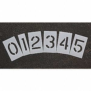 "Pavement Stencil, Numbers, 10"", Low Density Polyethylene, 1 EA"