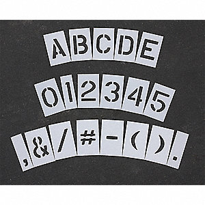"Pavement Stencil, Letters, Numbers, and Punctuation, 10"", Low Density Polyethylene, 1 EA"