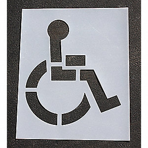 "Pavement Stencil, Handicap - ADA, 39"", Low Density Polyethylene, 1 EA"