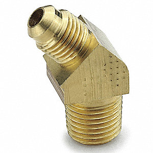 "Extruded Elbow, 45°, Flare x MNPT Connection Type, 1/4"" Tube Size, 10PK"