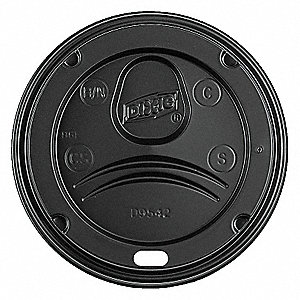 HOT CUP DOME LID,BLACK,PK 1000