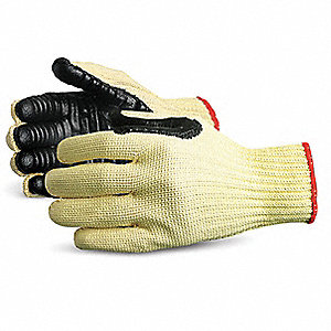 Anti-Vibration Gloves, Chloroprene Coated Palm Material, Black, Yellow, 1 PR