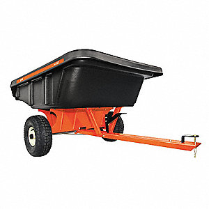Dump Cart, Plastic, 12 cu. ft. Volume Capacity, 800 lb. Max. Capacity, Pneumatic Wheel Type