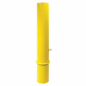 48 in Removable Carbon Steel Bollard with 6 in Outside Dia., Yellow