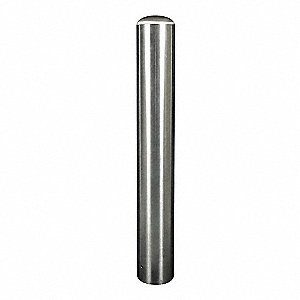 48 in Fixed Stainless Steel Bollard with 3 in Outside Dia., Silver