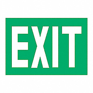 EXIT SIGN,7-3/8 X 12IN,GLOW/GRN,EXI