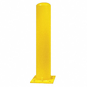 "36"" Fixed Carbon Steel Bollard with 5"" Outside Dia., Yellow"