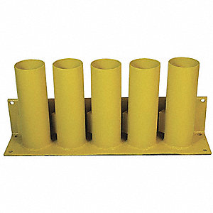 "Yellow Bollard Storage Rack, Padlockable Locking System, 4"" Bollard Outside Dia."