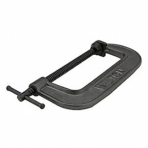 "Regular Duty Cast Iron C-Clamp, 5"" Max. Opening, 2-1/2"" Throat Depth, Black"