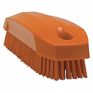"4-57/64""L Polyester Block Hand and Nail Brush, Orange"