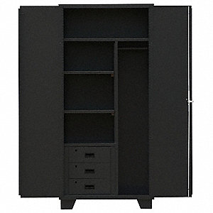 "Heavy Duty Storage Cabinet, Black, 78"" H X 36"" W X 24"" D, Assembled"