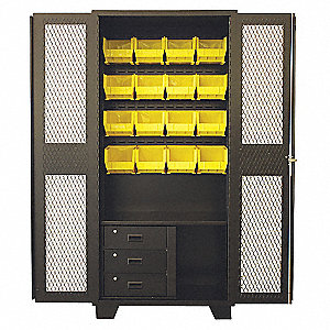 "Bin Cabinet,Louvered,78""H,36""W,24""D"