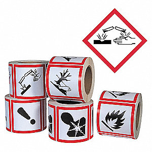 PICTOGRAM LABEL,BLACK/RED,GLOSSY PA