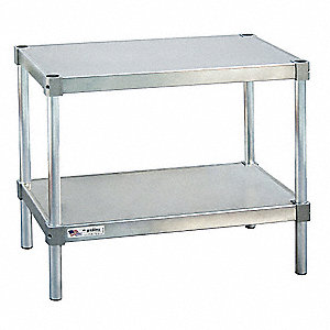 "Fixed Height Work Table, Aluminum, 15"" Depth, 30"" Height, 24"" Width,800 lb. Load Capacity"