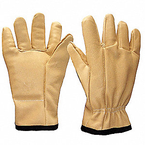 Anti-Vibration Gloves, Leather Palm Material, Tan, 1 PR