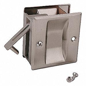 POCKET DOOR PASSAGE LOCK- SATIN NIC