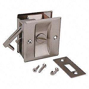 POCKET DOOR PRIVACY LOCK-SATIN NICK