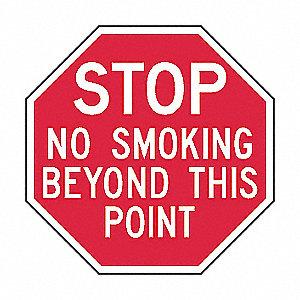NO SMOKING SIGN,12 X 12IN,WHT/R,AL,