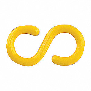 BARRIER CHAIN S-HOOK,2 IN,YELLOW,PK