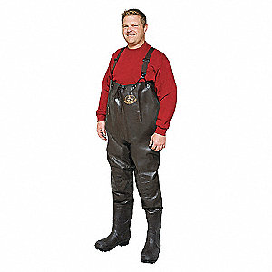 INS CHEST WADERS,PLAIN TOE,13,DK BR
