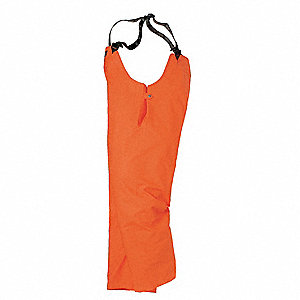 "Orange Bib Overalls, PVC, Fits Waist Size: 30"", 31"" Inseam"