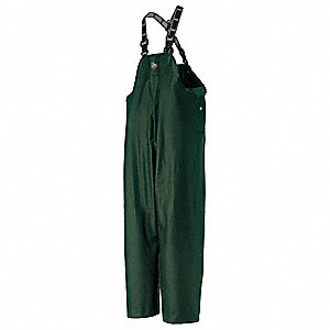 Rain Bib Overall, High Visibility: No, ANSI Class: Unrated, PVC, M, Green