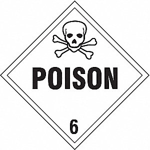VEHICLE PLACARD,POISON WITH PICTOGR