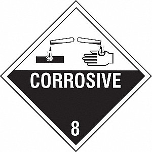 VHCLE PLACARD,CORROSIVE W PICTOGRAM