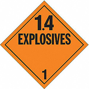 VEHICLE PLACARD,1.4 EXPLOSIVE,PK10
