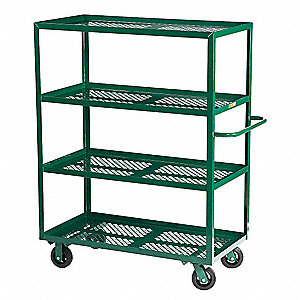 Garden Cart, 1600 lb. Load Capacity, Number of Shelves 4, (2) Rigid, (2) Swivel Caster Type