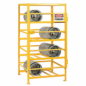 "36"" x 48"" x 70"" Gas Cylinder Rack, Yellow"