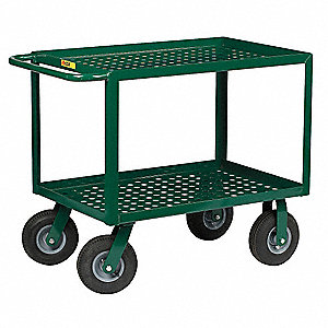 Garden Cart, 1000 lb. Load Capacity, Number of Shelves 2, (2) Rigid, (2) Swivel Caster Type