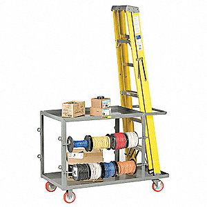 Wire Reel Ladder Cart, (2) Rigid, (2) Swivel with Lock