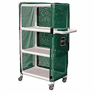 "PVC Linen Cart,32"",3 Shelf,Green"