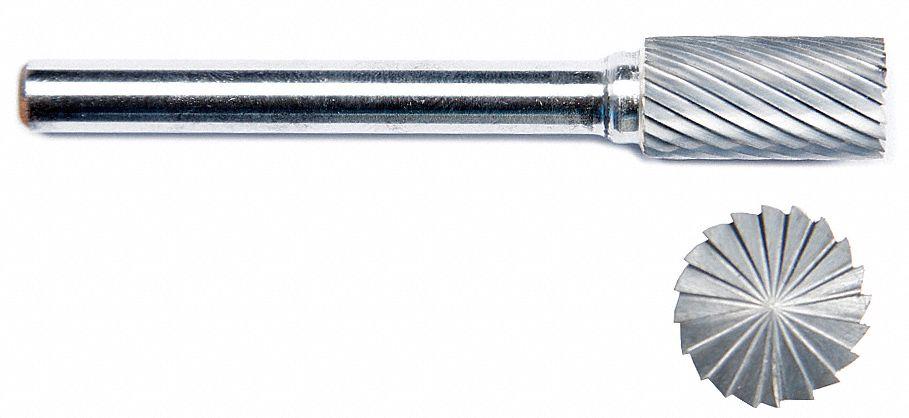 "GRAINGER APPROVED Carbide Bur,Cylindrical Ball Nose,1//4/"" 19D824"