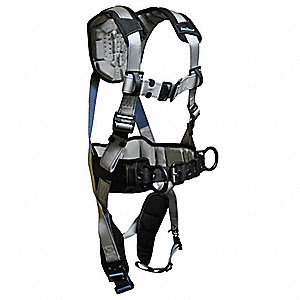 S Construction Full Body Harness, 310 lb. Weight Capacity, Silver