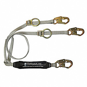 Tie Back Shock-Absorbing Lanyard, Number of Legs: 2, Working Length: 6 ft.