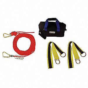 Horizontal Lifeline Kit, 100 ft. Length, Temporary Installation, 1 Workers Per System