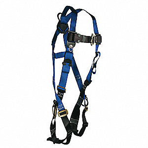 Standard Non-belted Full Body Harness with 310 lb. Weight Capacity, Blue/Black, Universal