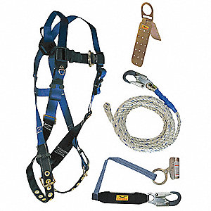 Blue, Universal Size Roofers Harness Kit, 310 lb. Weight Capacity, Tongue Leg Strap Buckles