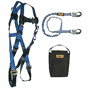 Blue, Universal Size Fall Protection Kit, 310 lb. Weight Capacity, Mating Leg Strap Buckles