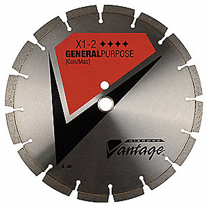 "20"" Wet/Dry Diamond Saw Blade, Segmented Rim Type, Application: Masonry"