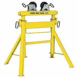 "Roller Head Pipe Stand, 1/2 to 36"" Pipe Capacity, 29"" to 43"" Overall Height, 1200 lb. Load Capacity"