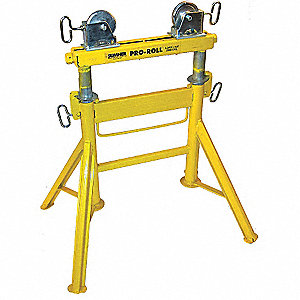 "Roller Head Pipe Stand, 1/2 to 36"" Pipe Capacity, 29"" to 43"" Overall Height, 2000 lb. Load Capacity"