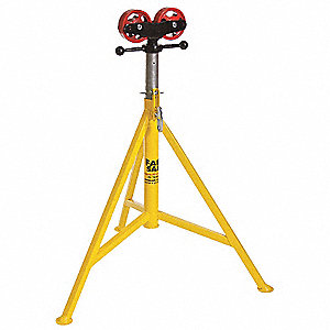 "Roller Head Pipe Stand, 24"" Pipe Capacity, 32"" to 52"" Overall Height, 2500 lb. Load Capacity"
