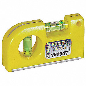"Magnetic, Plastic Pocket Level, 3-1/2"" Length, Top Read: Yes"