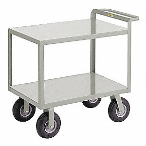 "54""L x 24""W x 38""H Gray Steel Welded Utility Cart, 1200 lb. Load Capacity, Number of Shelves: 2"