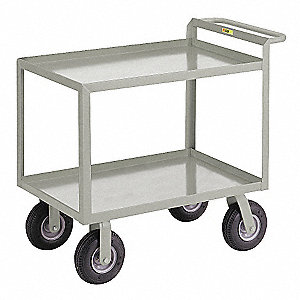 "42""L x 24""W x 38""H Gray Steel Welded Utility Cart, 1200 lb. Load Capacity, Number of Shelves: 2"
