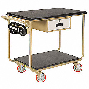 "34""H x 24""D Instrument Cart, 1000 lb. Load Capacity, Number of Shelves: 2"